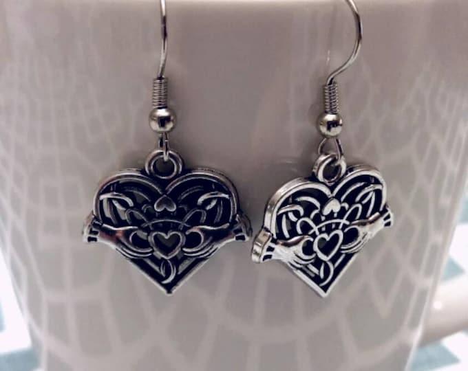 Silvertone Celtic Claddagh Charm Dangle Earrings
