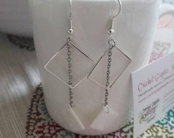 Geometric Wire & Shell Silver Dangle Earrings