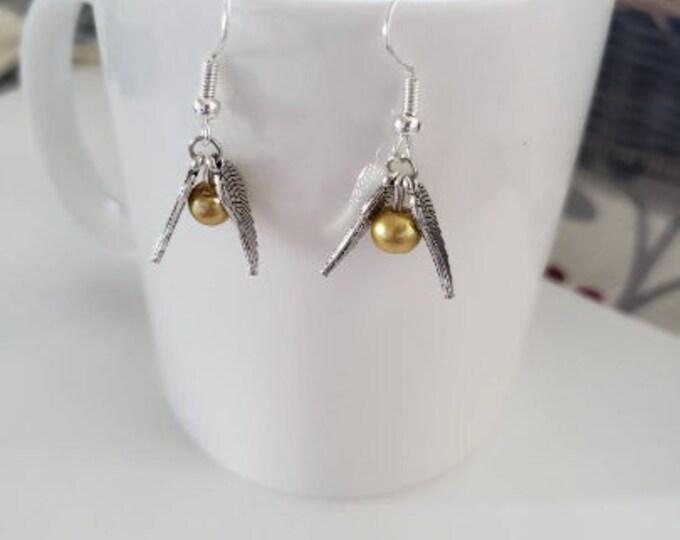 Wizard Winged Ball Dangle Earrings