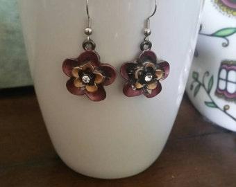 Warm Colored Flower & Crystal  Charm Dangle Earrings