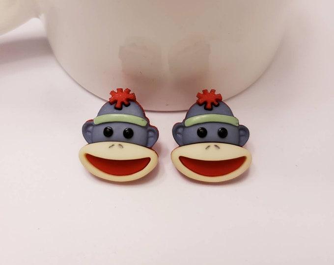 Sock Monkey Button Stud Earrings
