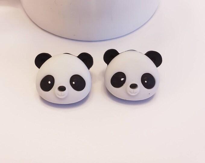 Cheery Panda Face Stud Earrings