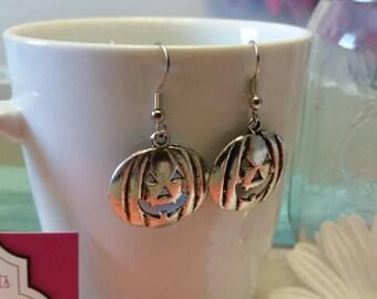 Spooky Silver Jack-o-lantern Charm Dangle Earrings
