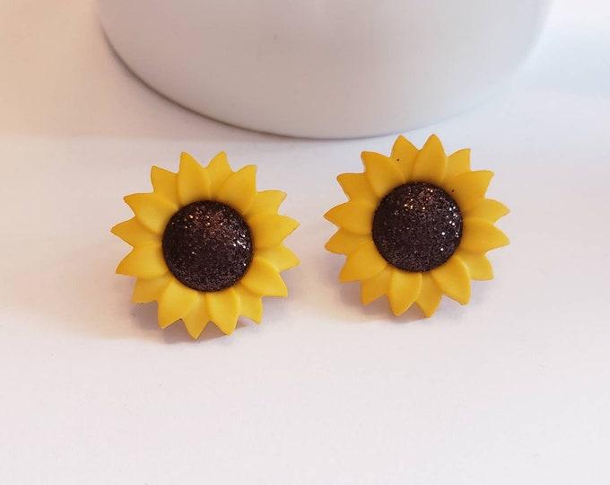 Glitter Sunflower Stud Earrings