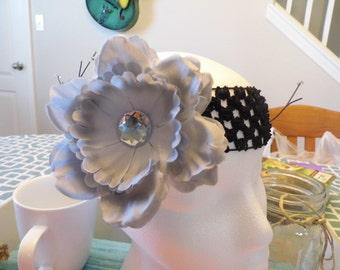 Peony Flower Crochet Headband with Gem Embellishment  (Multiple Colors)