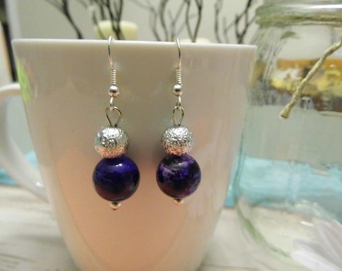 Purple & Silver Stacked Bead Dangle Earrings