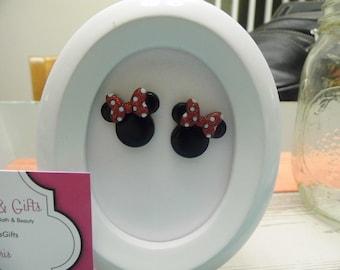 Minnie Mouse Ears Button Stud Earrings