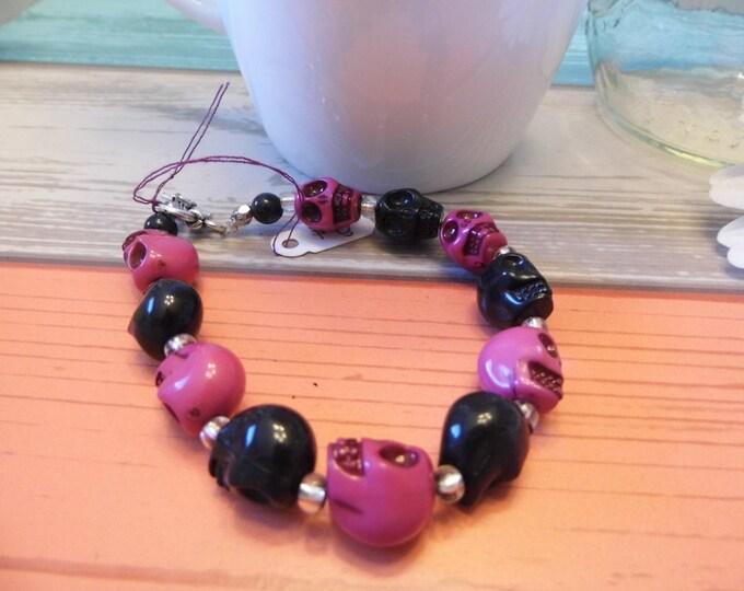 Black & Pink Skull Bracelet