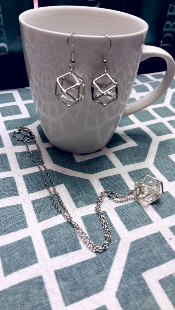 Geometric Hollow Cube & Crystal Charm Earrings and Necklace Set