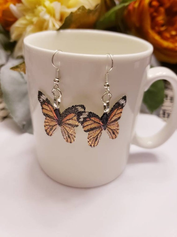 Monarch Butterfly Leaf Dangle Earrings