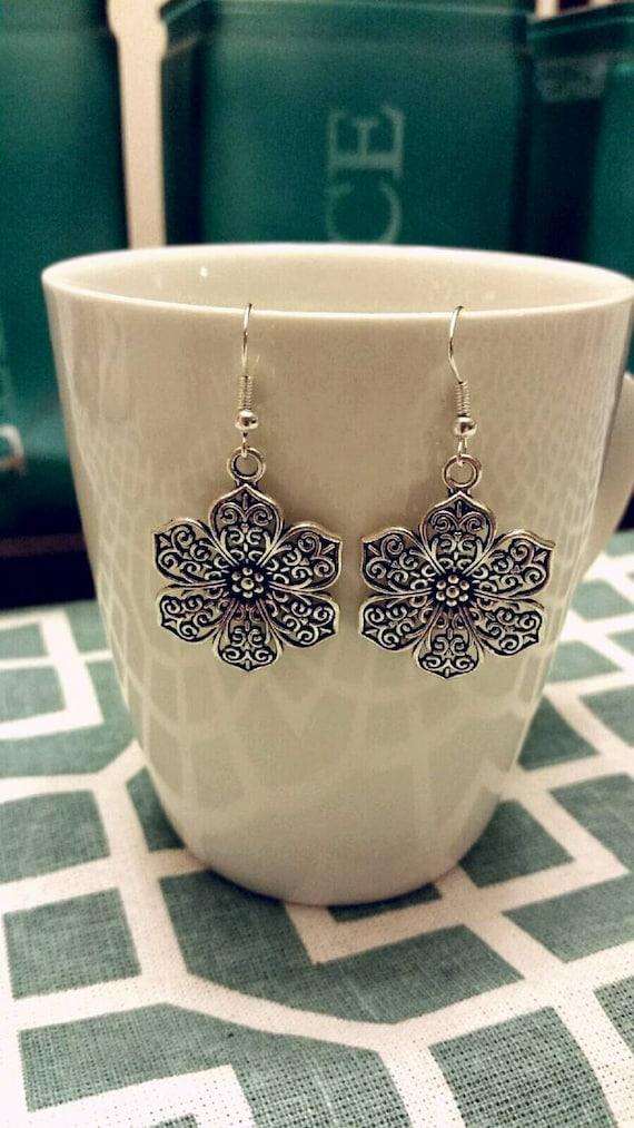 Scrolled Silver Flower Charm Dangle Earrings