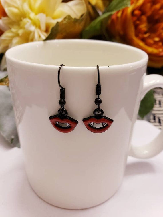 Red & Black Vampire Teeth Charm Earrings