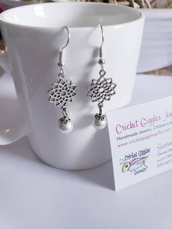 Silver Charm and Pearl Accent Dangle Earrings