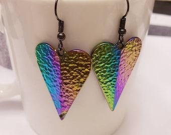 Iridescent Metal Heart Drop Dangle Earrings