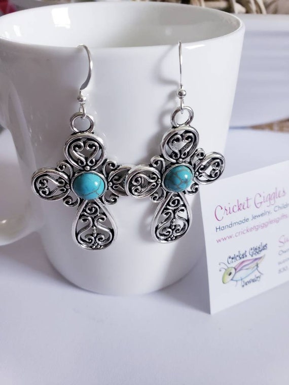 Large Turquoise & Silver Charm Dangle Earrings