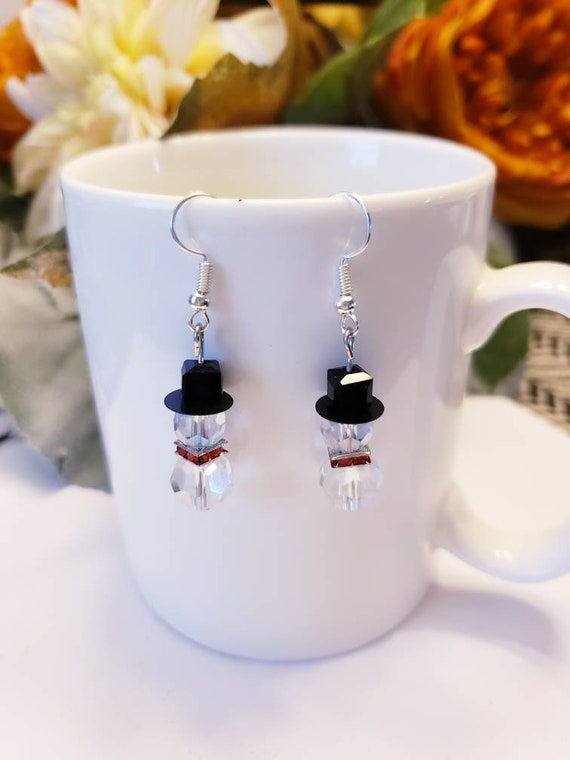 Crystal Winter Snowman Charm Dangle Earrings