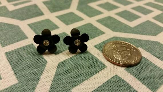 Black Sparkle Flower Button Stud Earrings