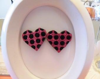 Glitter Polka Dot Heart Stud Earrings