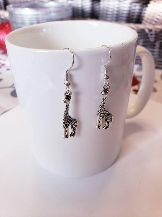 Majestic Giraffe Silver Dangle Earrings