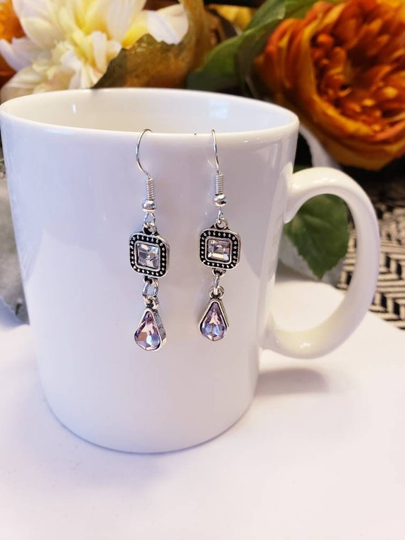 Pink Crystal Antique Charm Dangle Earrings
