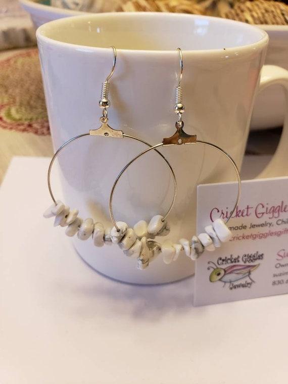Tumbled Natural Stone Pendant Silver Dangle Earrings