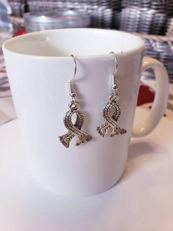Winter Scarf Silver Dangle Earrings