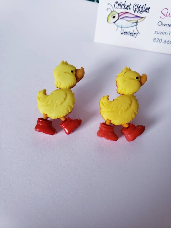 Rainy Day Duckies Button Stud Earrings