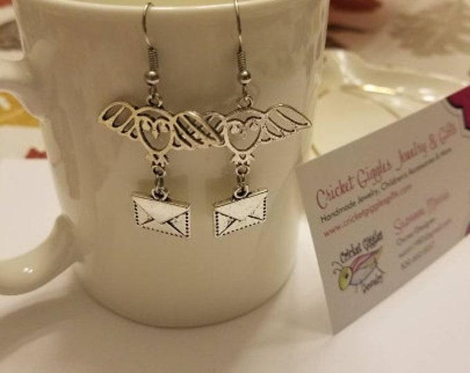 Owl & Letter Silver Dangle Earrings