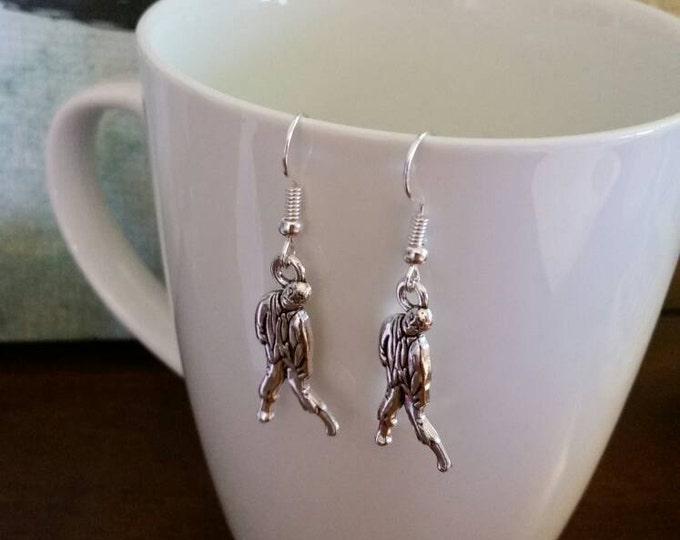 Silver Zombie Walking Dead Charm Earrings