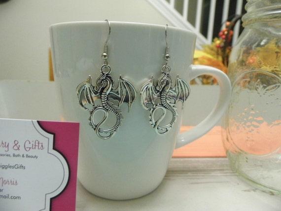 Silver Dragon Dangle Earrings