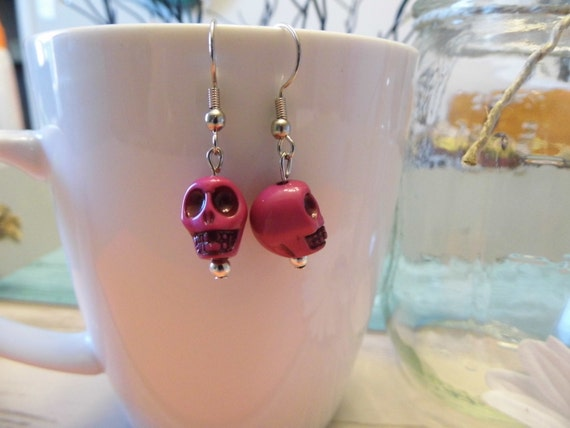 Carved Skull Bead Dangle Earrings