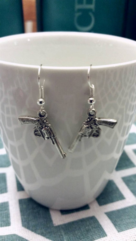 Silver Winchester Supernatural Inspired Revolver Earrings