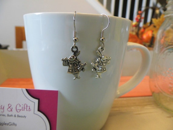 White Rabbit Wonderland Charm Dangle Earrings