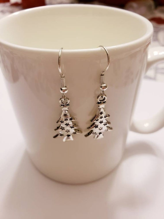 Silver Embossed Stars Christmas Tree Charm Earrings