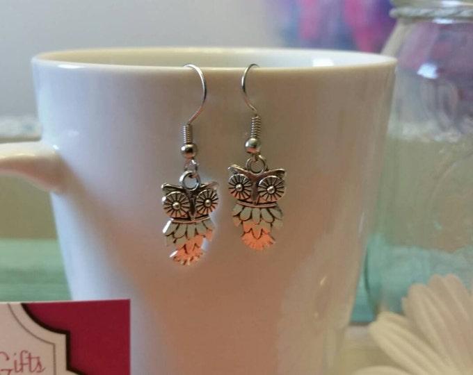 Silver Owl Charm Dangle Earrings