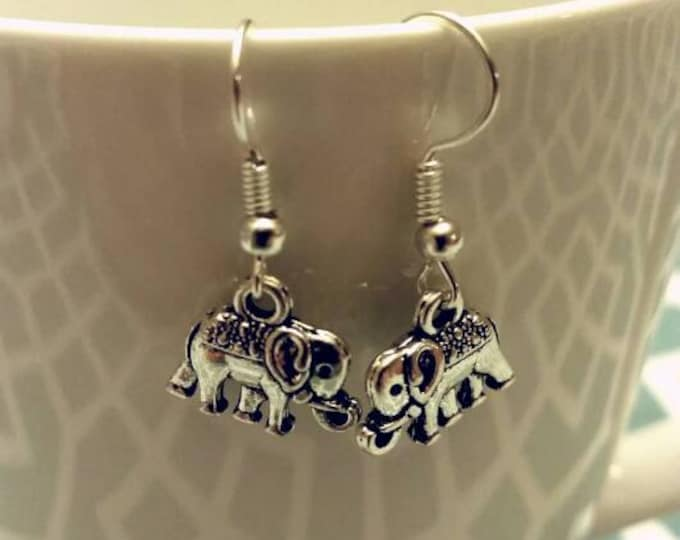 Silver Circus Elephant Charm Dangle Earrings