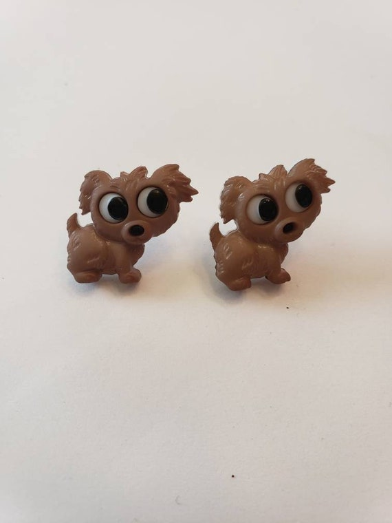 Adorable Big-Eyed Puppies Button Stud Earrings
