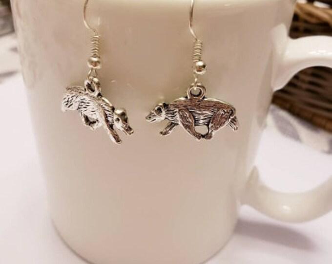 Badger Silver Dangle Earrings
