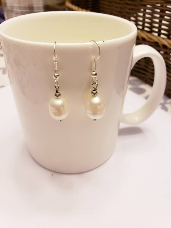 Not Your Grandmother's Pearl Bauble Silver Dangle Earrings