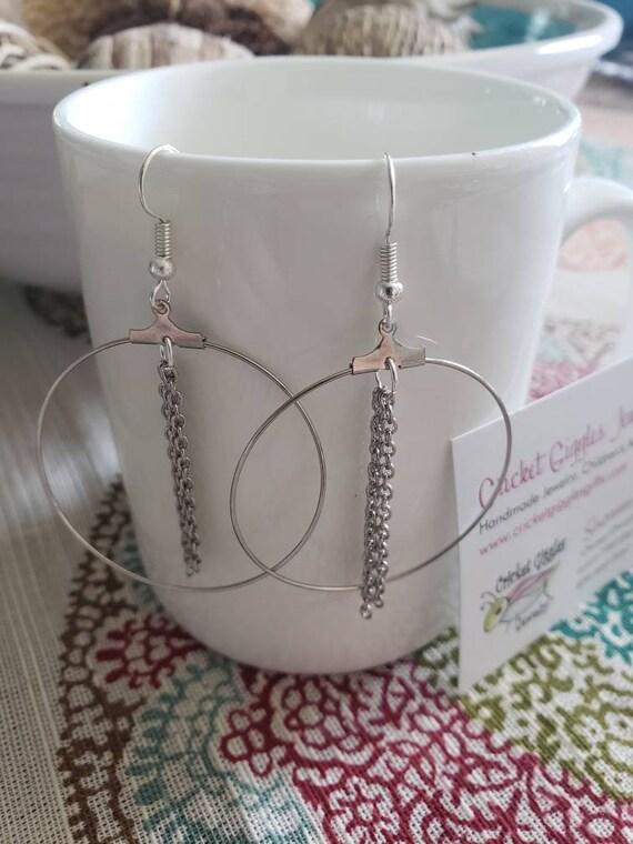 Geometric Wire & Chain Silver Dangle Earrings