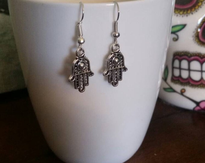 Silver Hamsa Hand Earrings