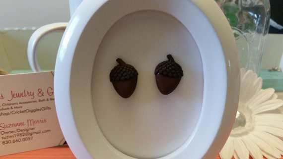 Fabulous Fall Acorn Button Stud Earrings