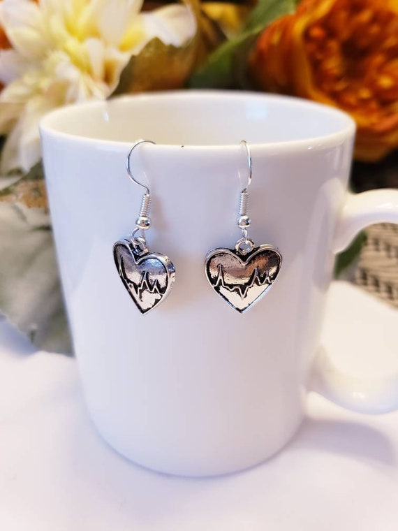 Love Heartbeat Silver Heart Charm Dangle Earrings