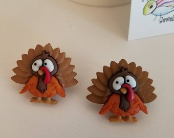 Worried Thanksgiving Turkeys Button Stud Earrings