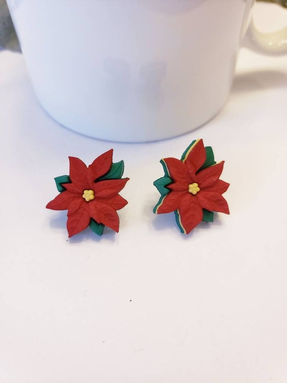 Holiday Poinsettia Stud Earrings