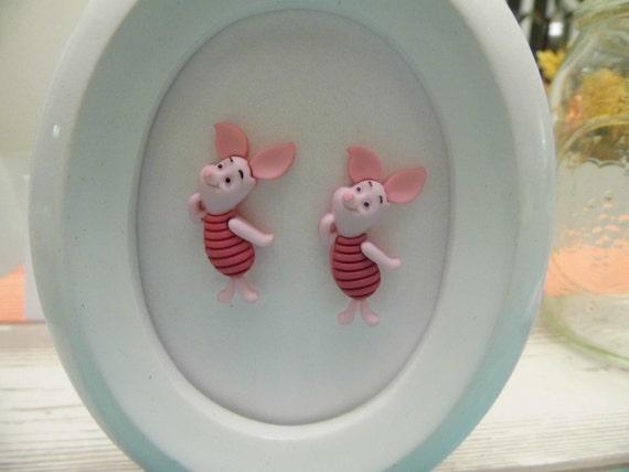 Disney Piglet Winnie the Pooh Button Stud Earrings