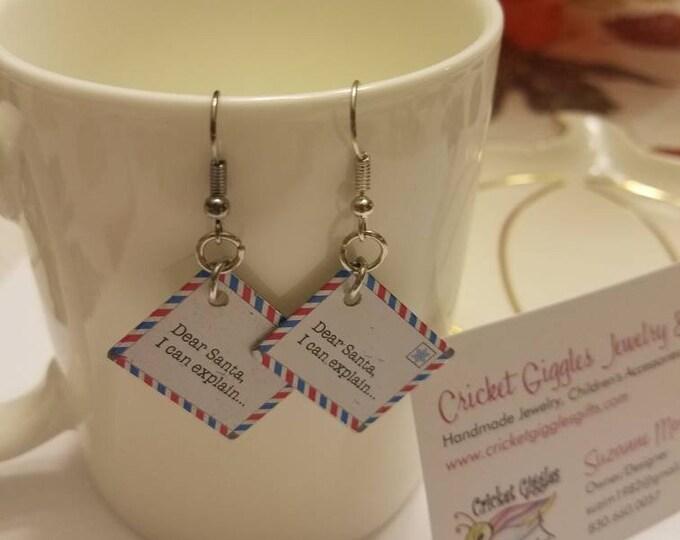 Christmas Santa Letter Silver Dangle Earrings