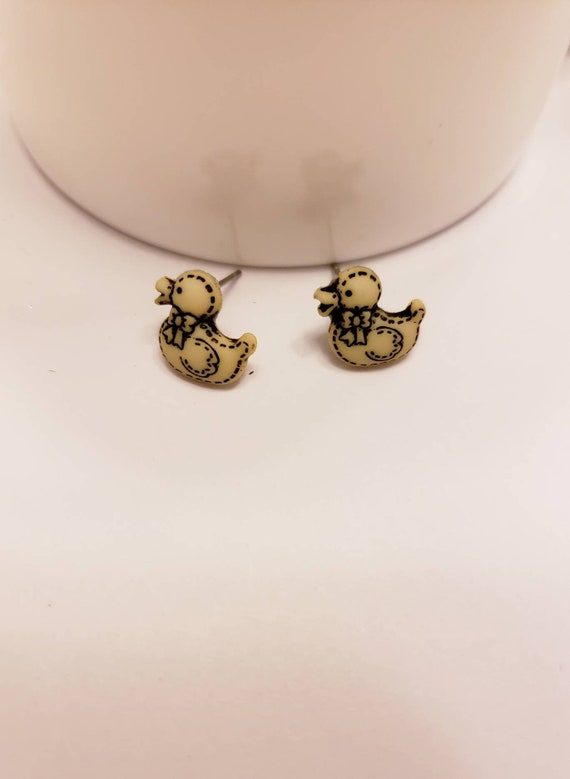 Mini Stuffed Duck Button Stud Earrings