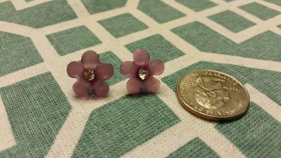Sparkle Flower Button Stud Earrings - Warm Colors