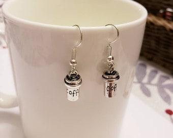 Travel Coffee Mug Silver Dangle Earrings